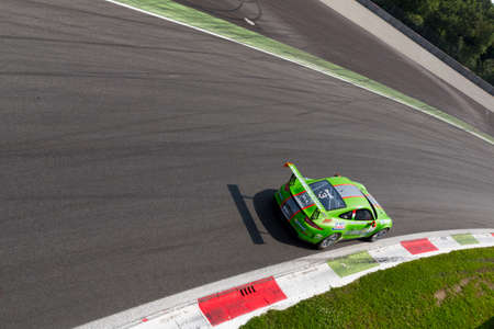gt3: Monza, Italy - May 30, 2015: Porsche 911 GT3 Cup of Dinamic Motorsport team, driven  by DRUDI Mattia during the Porsche Carrera Cup Italia - Race in Autodromo Nazionale di Monza Circuit on May 30, 2015 in Monza, Italy. Editorial