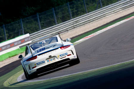 gt3: Monza, Italy - May 30, 2015: Porsche 911 GT3 Cup of LEM Racing team, driven  by PELLINEN Aku during the Porsche Carrera Cup Italia - Race in Autodromo Nazionale di Monza Circuit on May 30, 2015 in Monza, Italy.