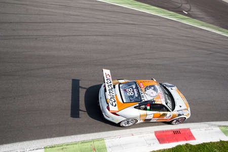 gt3: Monza, Italy - May 30, 2015: Porsche 911 GT3 Cup of Ebimotors team, driven  by DE AMICIS Alberto during the Porsche Carrera Cup Italia - Race in Autodromo Nazionale di Monza Circuit on May 30, 2015 in Monza, Italy.