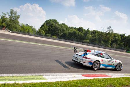 carrera: Monza, Italy - May 30, 2015: Porsche 911 GT3 Cup of Antonelli Motorsport team, driven  by AGOSTINI Riccardo during the Porsche Carrera Cup Italia - Race in Autodromo Nazionale di Monza Circuit on May 30, 2015 in Monza, Italy.