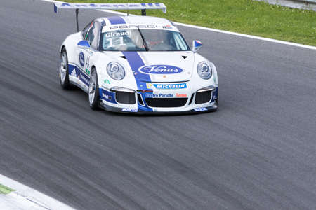 gt3: Monza, Italy - May 30, 2015: Porsche 911 GT3 Cup of Antonelli Motorsport team, driven  by GIRAUDI Gian Luca during the Porsche Carrera Cup Italia - Race in Autodromo Nazionale di Monza Circuit on May 30, 2015 in Monza, Italy.