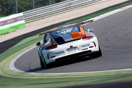 monza: Monza, Italy - May 30, 2015: Porsche 911 GT3 Cup of Ebimotors team, driven  by DE AMICIS Alberto during the Porsche Carrera Cup Italia - Race in Autodromo Nazionale di Monza Circuit on May 30, 2015 in Monza, Italy.