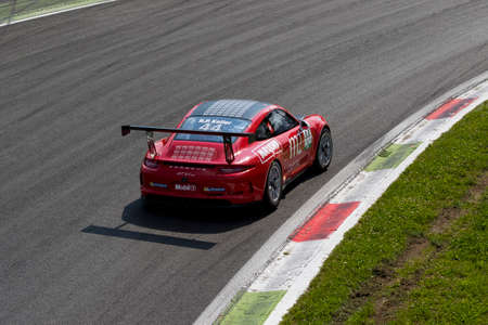 gt3: Monza, Italy - May 30, 2015: Porsche 911 GT3 Cup of TAM-Racing team, driven  by Hans-Peter Koller during the Porsche Carrera Cup Italia - Race in Autodromo Nazionale di Monza Circuit on May 30, 2015 in Monza, Italy.