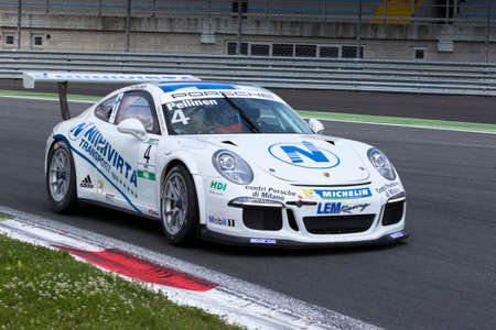 carrera: Monza, Italy - May 30, 2015: Porsche 911 GT3 Cup of LEM Racing team, driven  by PELLINEN Aku during the Porsche Carrera Cup Italia - Race in Autodromo Nazionale di Monza Circuit on May 30, 2015 in Monza, Italy.