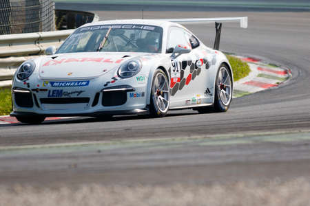 monza: Monza, Italy - May 30, 2015: Porsche 911 GT3 Cup of LEM Racing team, driven  by Walter Ben during the Porsche Carrera Cup Italia - Race in Autodromo Nazionale di Monza Circuit on May 30, 2015 in Monza, Italy.