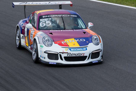 monza: Monza, Italy - May 30, 2015: Porsche 911 GT3 Cup of Ebimotors team, driven  by Pietro Negra during the Porsche Carrera Cup Italia - Race in Autodromo Nazionale di Monza Circuit on May 30, 2015 in Monza, Italy. Editorial