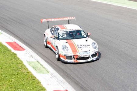 monza: Monza, Italy - May 30, 2015: Porsche 911 GT3 Cup of Antonelli Motorsport - Centro Porsche Padova team, driven  by Takashi Kasai during the Porsche Carrera Cup Italia - Race in Autodromo Nazionale di Monza Circuit on May 30, 2015 in Monza, Italy.
