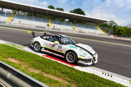 gt3: Monza, Italy - May 30, 2015: Porsche 911 GT3 Cup of Antonelli Motorsport - Centro Porsche Padova team, driven  by Sergio Negroni during the Porsche Carrera Cup Italia - Race in Autodromo Nazionale di Monza Circuit on May 30, 2015 in Monza, Italy.