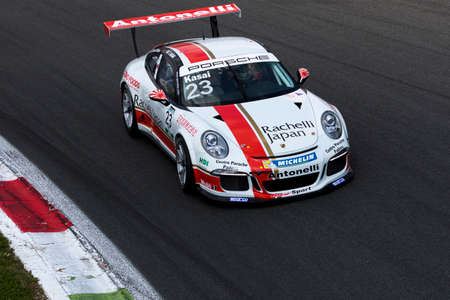 carrera: Monza, Italy - May 30, 2015: Porsche 911 GT3 Cup of Antonelli Motorsport - Centro Porsche Padova team, driven  by Takashi Kasai during the Porsche Carrera Cup Italia - Race in Autodromo Nazionale di Monza Circuit on May 30, 2015 in Monza, Italy.
