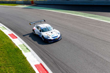 mario: Monza, Italy - May 30, 2015: Porsche 997 of Autorlando Sport team, driven  by CAMATHIAS Joel - CALAMIA Mario during the C.I. Franturismo - Race in Autodromo Nazionale di Monza Circuit on May 30, 2015 in Monza, Italy.