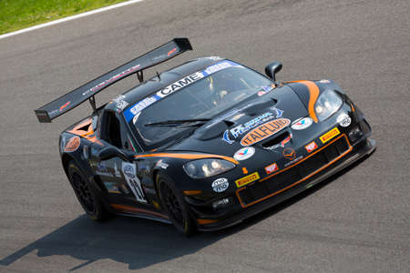 corvette: Monza, Italy - May 30, 2015: Chevrolet Corvette of Solaris Motorsport  team, driven  by Sini Francesco - Kelwitz Daniel during the C.I. Franturismo - Race in Autodromo Nazionale di Monza Circuit on May 30, 2015 in Monza, Italy. Editorial