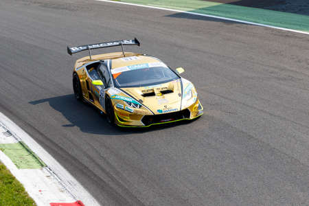 monza: Monza, Italy - May 30, 2015: Lamborghini huracan of Raton Racing team, driven  by TANCA Roberto - ZAUGG Adrian during the C.I. Franturismo - Race in Autodromo Nazionale di Monza Circuit on May 30, 2015 in Monza, Italy. Editorial
