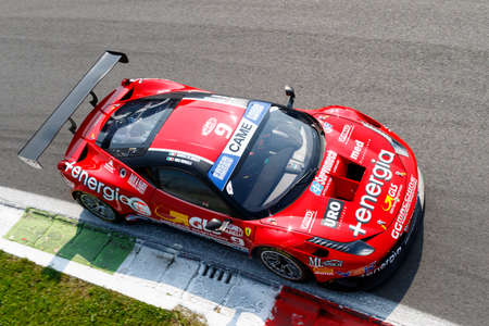 daniele: Monza, Italy - May 30, 2015: Ferrari 458 Italia of MP1 Corse team, driven  by DI AMATO Daniele - MUGELLI Massimiliano) during the C.I. Franturismo - Race in Autodromo Nazionale di Monza Circuit on May 30, 2015 in Monza, Italy.
