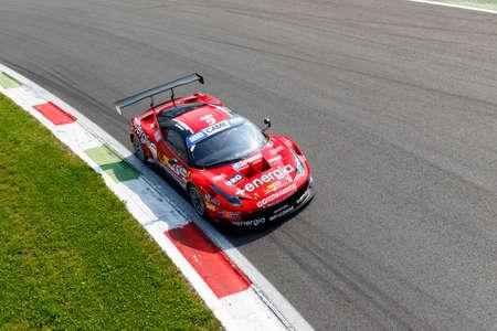 daniele: Monza, Italy - May 30, 2015: Ferrari 458 Italia of MP1 Corse team, driven  by DI AMATO Daniele - MUGELLI Massimiliano) during the C.I. Franturismo - Race in Autodromo Nazionale di Monza Circuit on May 30, 2015 in Monza, Italy.