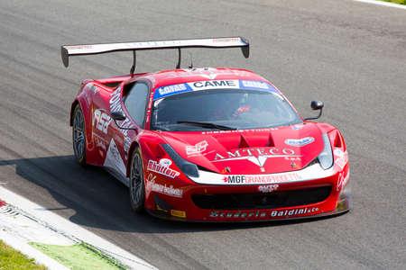 monza: Monza, Italy - May 30, 2015: Ferrari 458 Italia of Scuderia Baldini 2 team, driven  by CASE Lorenzo - GATTUSO Stefano  during the C.I. Franturismo - Race in Autodromo Nazionale di Monza Circuit on May 30, 2015 in Monza, Italy. Editorial