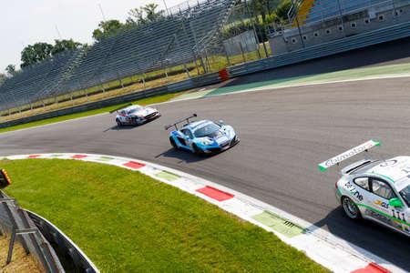 Monza, Italy - May 30, 2015: MC LAREN MP4-12C of Racing Studios team, driven  by FRANCIONI Filippo - BIAGI Thomas during the C.I. Franturismo - Race in Autodromo Nazionale di Monza Circuit on May 30, 2015 in Monza, Italy. Redakční