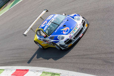 monza: Monza, Italy - May 30, 2015: Porsche 997 of Ebimotors team, driven  by DONATIVI Vincenzo - POSTIGLIONE Vito  during the C.I. Franturismo - Race in Autodromo Nazionale di Monza Circuit on May 30, 2015 in Monza, Italy.