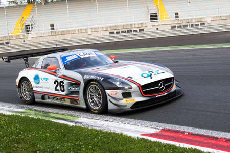 monza: Monza, Italy - May 30, 2015: MERCEDES SLS AMG of SPORTS AND YOU team, driven  by MORA Francisco - WRIGHT Aidan during the C.I. Franturismo - Race in Autodromo Nazionale di Monza Circuit on May 30, 2015 in Monza, Italy.