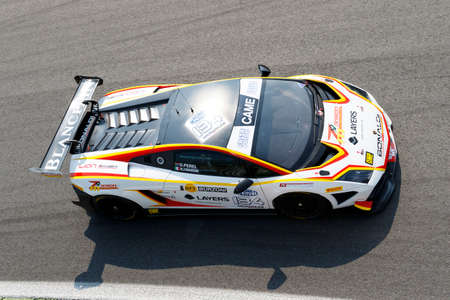 gallardo: Monza, Italy - May 30, 2015: Lamborghini Gallardo of Bonaldi Motorsport team, driven  by ZANARDINI Mirko - PEREL David During The C.I. Granturismo - Race in Autodromo Nazionale di Monza Circuit on May 30, 2015 in Monza, Italy. Editorial