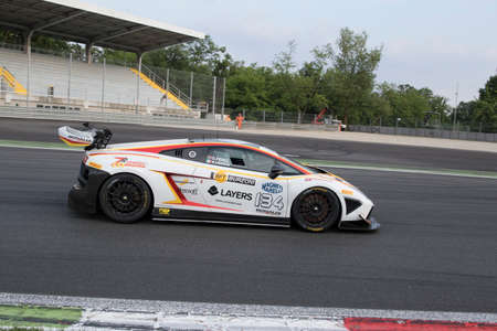 monza: Monza, Italy - May 30, 2015: Lamborghini Gallardo of Bonaldi Motorsport team, driven  by ZANARDINI Mirko - PEREL David During The C.I. Granturismo - Race in Autodromo Nazionale di Monza Circuit on May 30, 2015 in Monza, Italy. Editorial