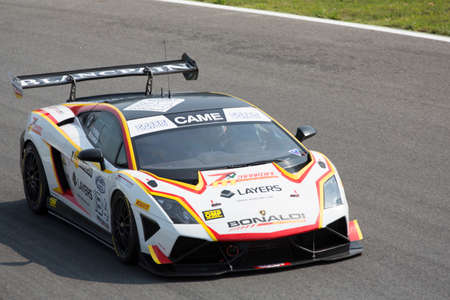 lamborghini: Monza, Italy - May 30, 2015: Lamborghini Gallardo of Bonaldi Motorsport team, driven  by ZANARDINI Mirko - PEREL David During The C.I. Granturismo - Race in Autodromo Nazionale di Monza Circuit on May 30, 2015 in Monza, Italy. Editorial