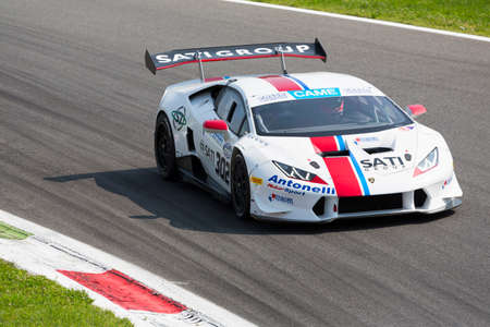 gallardo: Monza, Italy - May 30, 2015: Lamborghini Huracan of Antonelli Motorposrt team, driven  by Mantovani Massimo  during the C.I. Granturismo - Race in Autodromo Nazionale di Monza Circuit on May 30, 2015 in Monza, Italy. Editorial