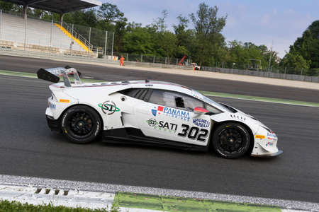 monza: Monza, Italy - May 30, 2015: Lamborghini Huracan of Antonelli Motorposrt team, driven  by Mantovani Massimo  during the C.I. Granturismo - Race in Autodromo Nazionale di Monza Circuit on May 30, 2015 in Monza, Italy. Editorial
