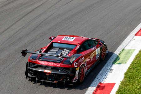 gallardo: Monza, Italy - May 30, 2015: Lamborghini Gallardo of EUROTECH team, driven  by VALORI Ronnie - CARBONI Gianluca during the C.I. Franturismo - Race in Autodromo Nazionale di Monza Circuit on May 30, 2015 in Monza, Italy. Editorial