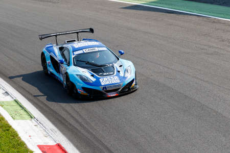 mc: Monza, Italy - May 30, 2015: Mc Laren Mp4-12c of Racing Studios team, driven  by MANCINELLI Daniel - GERI Ferdinando during the C.I. Granturismo - Race in Autodromo Nazionale di Monza Circuit on May 30, 2015 in Monza, Italy. Editorial
