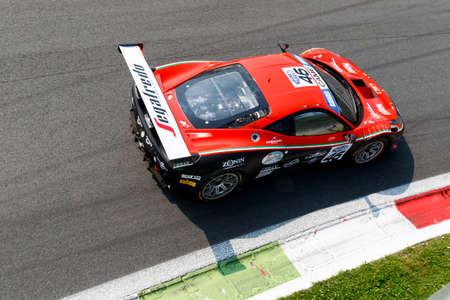 felice: Monza, Italy - May 30, 2015: Ferrari 458 Italia of Ombra srl team, driven  by CIPRIANI Giuseppe - TEDESCHI Felice during the C.I. Granturismo - Race in Autodromo Nazionale di Monza Circuit on May 30, 2015 in Monza, Italy.