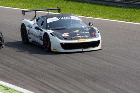 monza: Monza, Italy - May 30, 2015: Ferrari 458 Challenge of Caso team, driven  by DEL PRETE Sossio - CASO Dario during the C.I. Granturismo - Race in Autodromo Nazionale di Monza Circuit on May 30, 2015 in Monza, Italy.