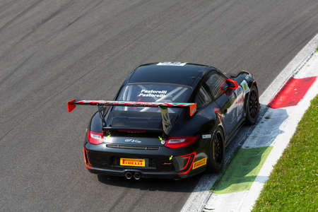 monza: Monza, Italy - May 30, 2015: Porsche 997 Cup of KRIPTON MOTORSPORT team, driven  by PASTORELLI Luca - PASTORELLI Nicola during the C.I. Franturismo - Race in Autodromo Nazionale di Monza Circuit on May 30, 2015 in Monza, Italy.
