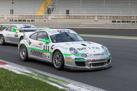 selva: Monza, Italy - May 30, 2015: Porsche 997 of Ebimotors team, driven  by MAINO Tommaso - SELVA Livio during the C.I. Franturismo - Race in Autodromo Nazionale di Monza Circuit on May 30, 2015 in Monza, Italy. Editorial