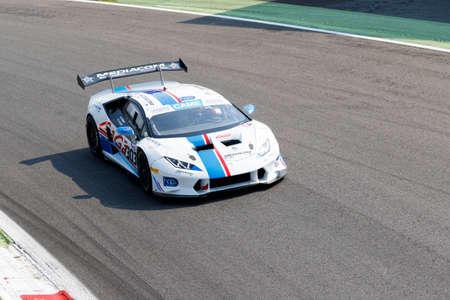 omar: Monza, Italy - May 30, 2015: LAMBORGHINI HURACAN of Antonelli Motorposrt team, driven  by GALBIATI Omar - DIONISIO Ermanno  during the C.I. Franturismo - Race in Autodromo Nazionale di Monza Circuit on May 30, 2015 in Monza, Italy. Editorial