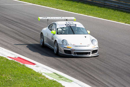 monza: Monza, Italy - May 30, 2015: Porsche 997 of driven  by SPEZZAPRIA Giacomo during the C.I. Franturismo - Race in Autodromo Nazionale di Monza Circuit on May 30, 2015 in Monza, Italy.