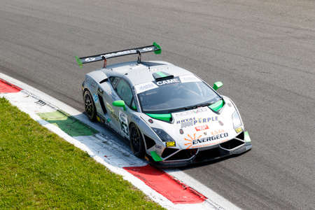 lamborghini: Monza, Italy - May 30, 2015: Lamborghini Gallardo of Imperiale Racing team, driven  by BIANCO Riccardo - MONFARDINI Federico during the C.I. Franturismo - Race in Autodromo Nazionale di Monza Circuit on May 30, 2015 in Monza, Italy.