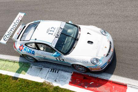 monza: Monza, Italy - May 30, 2015: Porsche 997 Cup of Ebimotors team, driven  by VENEROSI PESCIOLINI Luig - BACCANI Alessandro  during the C.I. Franturismo - Race in Autodromo Nazionale di Monza Circuit on May 30, 2015 in Monza, Italy. Editorial