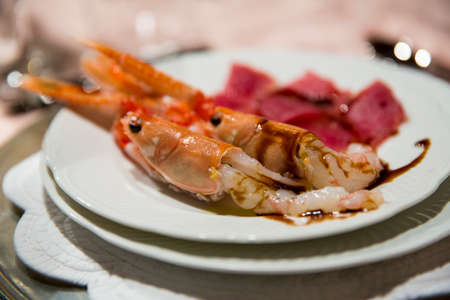raw lobster: shrimp raw - uncooked fresh seafood scampi natural and fresh tuna