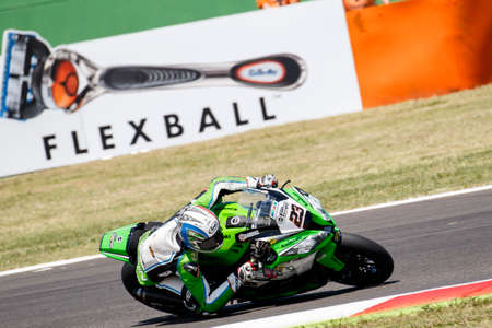 adriatico: Misano Adriatico, Italy - June 20: Kawasaki ZX-10R of Team Pedercini, driven by PONSSON Christophe in action during the Superbike Free Practice 4th Session during the FIM Superbike World Championship - Race at Misano World Circuit on June 20, 2015 in Misa