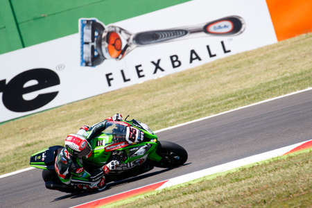 rea: Misano Adriatico, Italy - June 20: Kawasaki ZX-10R of KAWASAKI RACING TEAM, driven by REA Jonathan in action during the Superbike Free Practice 4th Session during the FIM Superbike World Championship - Race at Misano World Circuit on June 20, 2015 in Misa Editorial