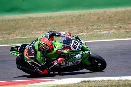 adriatico: Misano Adriatico, Italy - June 20: Kawasaki ZX-10R of KAWASAKI RACING TEAM , driven by SYKES Tom in action during the Superbike Free Practice 4th Session during the FIM Superbike World Championship - Race at Misano World Circuit on June 20, 2015 in Misano