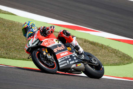 superbike: Misano Adriatico, Italy - June 20: Ducati Panigale R of Aruba.it Racing-Ducati SBK Team, driven by DAVIES Chaz in action during the Superbike Superpole (2) Session during the FIM Superbike World Championship - Race at Misano World Circuit on June 20, 2015 Editorial