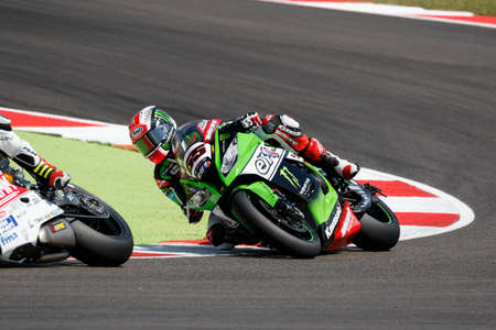 superbike: Misano Adriatico, Italy - June 20: Kawasaki ZX-10R of KAWASAKI RACING TEAM, driven by REA Jonathan in action during the Superbike Superpole (2) Session during the FIM Superbike World Championship - Race at Misano World Circuit on June 20, 2015 in Misano A