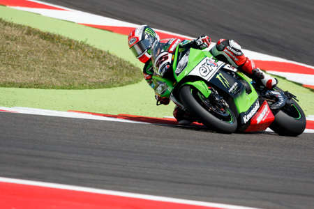 rea: Misano Adriatico, Italy - June 20: Kawasaki ZX-10R of KAWASAKI RACING TEAM, driven by REA Jonathan in action during the Superbike Superpole (2) Session during the FIM Superbike World Championship - Race at Misano World Circuit on June 20, 2015 in Misano A