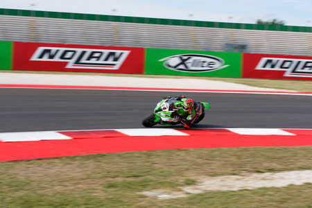 adriatico: Misano Adriatico, Italy - June 21: Kawasaki ZX-10R of Team Pedercini, driven by SALOM David in action during the Superbike Warm Up during the FIM Superbike World Championship - Race at Misano World Circuit on June 21, 2015 in Misano Adriatico, Italy. Editorial