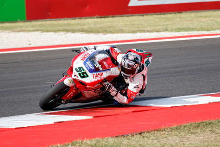adriatico: Misano Adriatico, Italy - June 21: Ducati Panigale R of Althea Racing Team, driven by CANEPA Niccolò in action during the Superbike Warm Up during the FIM Superbike World Championship - Race at Misano World Circuit on June 21, 2015 in Misano Adriatico, I