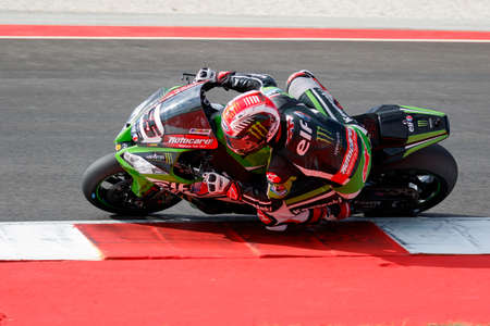 rea: Misano Adriatico, Italy - June 21: Kawasaki ZX-10R of KAWASAKI RACING TEAM, driven by REA Jonathan in action during the Superbike Warm Up during the FIM Superbike World Championship - Race at Misano World Circuit on June 21, 2015 in Misano Adriatico, Ital