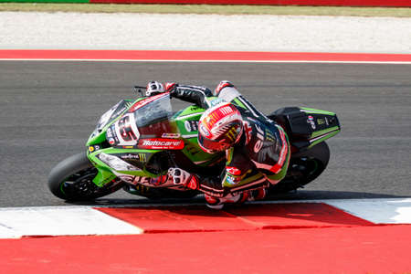 superbike: Misano Adriatico, Italy - June 21: Kawasaki ZX-10R of KAWASAKI RACING TEAM, driven by REA Jonathan in action during the Superbike Warm Up during the FIM Superbike World Championship - Race at Misano World Circuit on June 21, 2015 in Misano Adriatico, Ital