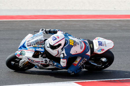 superbike: Misano Adriatico, Italy - June 21: BMW S1000 RR of BMW Team Toth, driven by TOTH Imre in action during the Superbike Warm Up during the FIM Superbike World Championship - Race at Misano World Circuit on June 21, 2015 in Misano Adriatico, Italy.