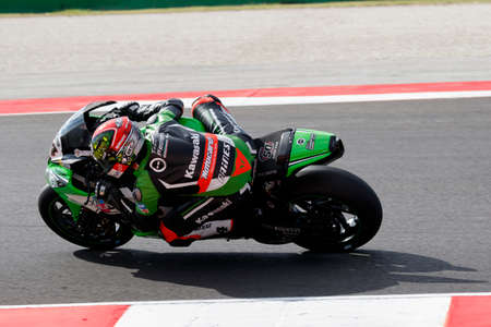 superbike: Misano Adriatico, Italy - June 21: Kawasaki ZX-10R of Team Pedercini, driven by SALOM David in action during the Superbike Warm Up during the FIM Superbike World Championship - Race at Misano World Circuit on June 21, 2015 in Misano Adriatico, Italy. Editorial
